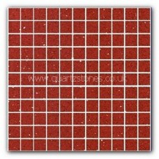 Gulfstone Quartz Ruby red glitter tiles 2.5x2.5cm