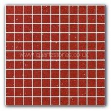 Gulfstone Quartz Ruby red glitter tiles 2.5x2.5cm